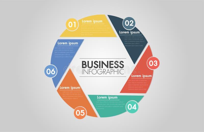 传染媒介infographic的圈子箭头 循环的图、图表、介绍和圆的图的模板 企业概念部, s 向量例证
