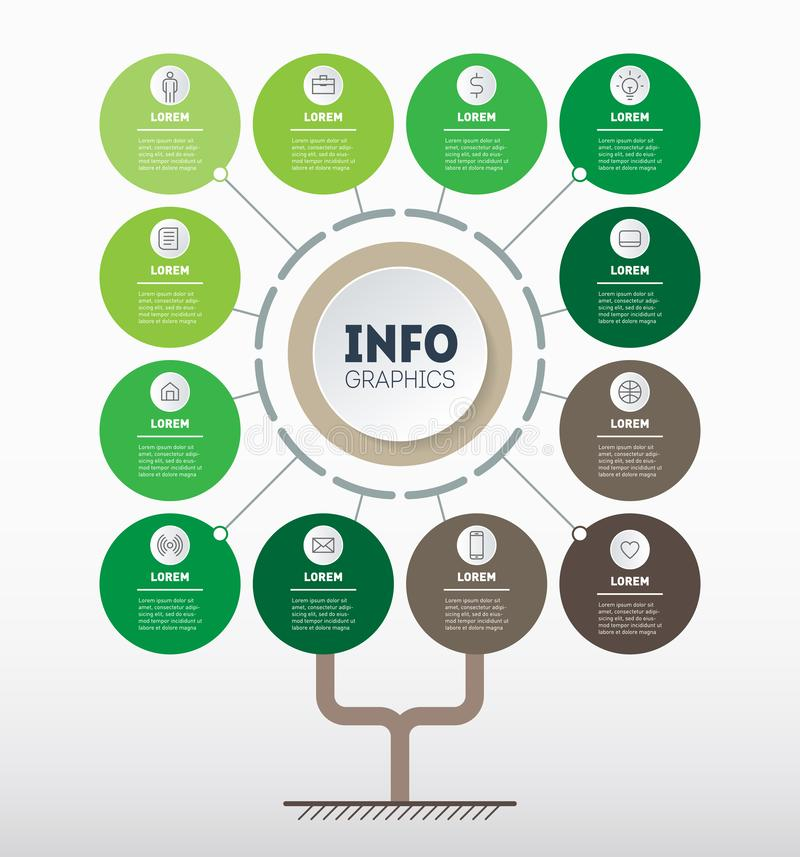 传染媒介infographic eco技术或教育过程与12个点或月 树、信息图或者图模板  库存例证