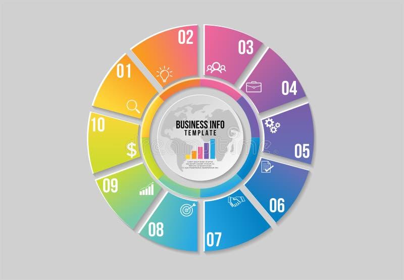 传染媒介Infographics元素模板设计 企业数据与最有用营销的象的形象化时间安排可以是半新f 向量例证