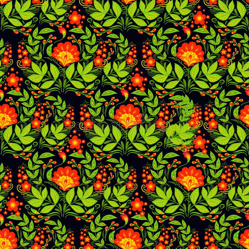 传染媒介khokhloma无缝的样式背景设计传统俄罗斯被画的例证种族装饰品绘画 向量例证