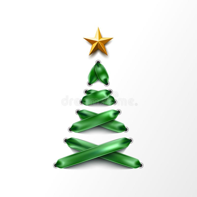 传染媒介lace-up圣诞树由鞋带做成 向量例证