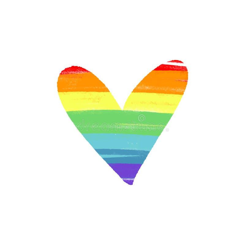 传染媒介LGBT旗子 彩虹的手拉的颜色 皇族释放例证