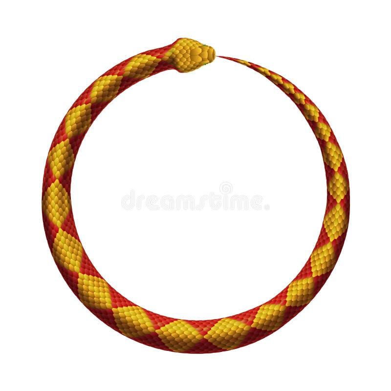 传染媒介Ouroboros标志 蛇咬住它` s尾巴 向量例证