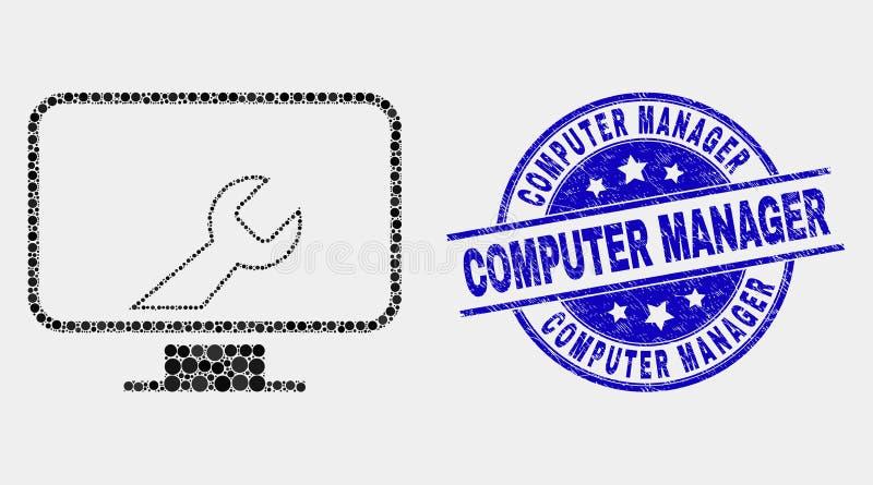 传染媒介Pixelated计算机设置扭动象和困厄计算机管理人员邮票 库存例证