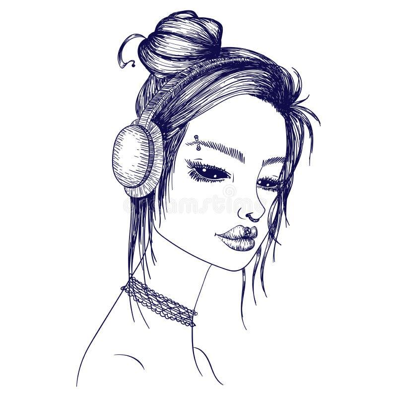 传染媒介suiside女孩一个哥特式女孩,眉头,鼻子,嘴唇穿甲,头发小圆面包,佩带的耳机的剪影例证有黑眼圈的 向量例证