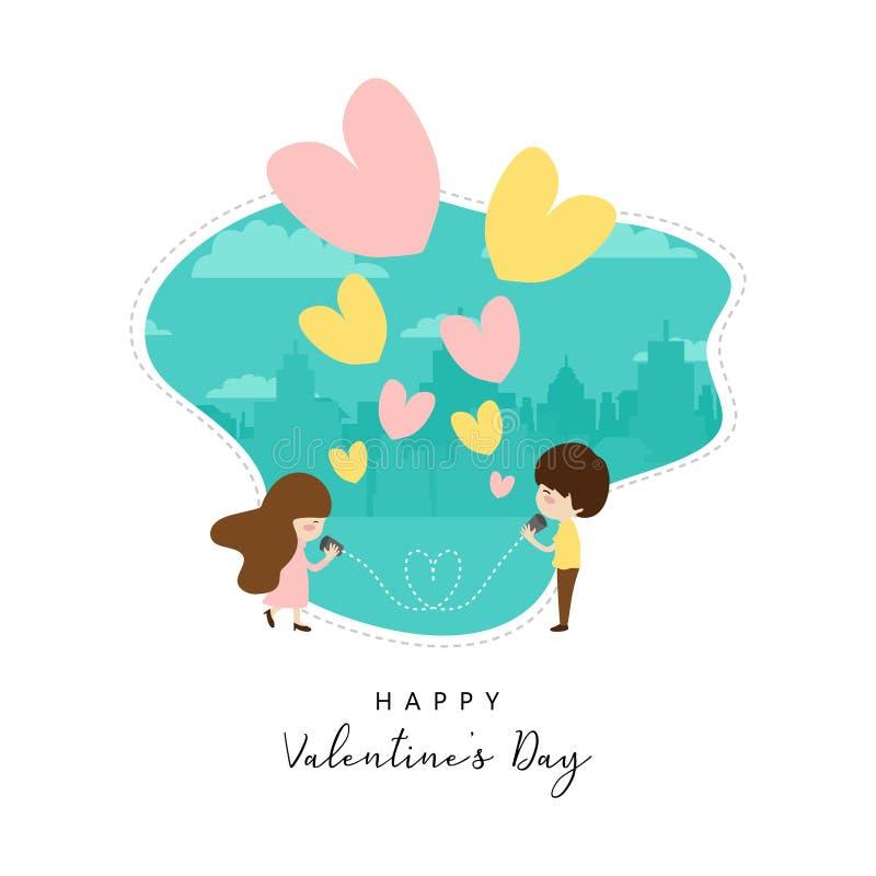 传染媒介valentine';s天卡片设计有逗人喜爱的横幅和海报的夫妇画的例证背景 皇族释放例证