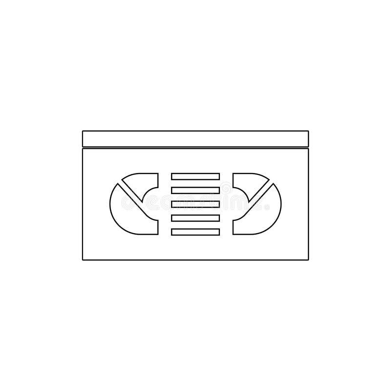 传染媒介VHS磁带象 媒介的元素流动概念和网应用程序例证的 网站设计的稀薄的线象和开发 库存例证