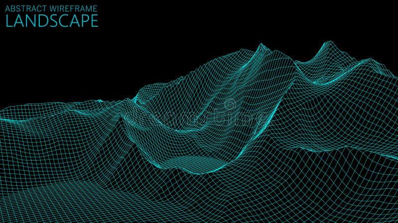 传染媒介wireframe 3d风景 技术栅格例证 E ? 免版税库存图片