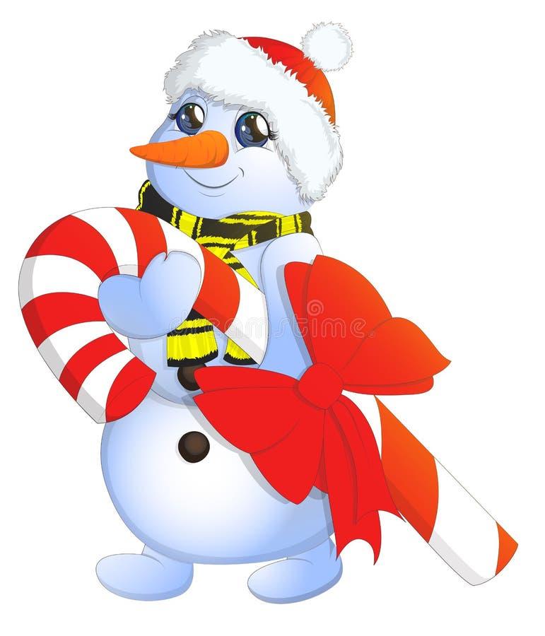 传染媒介一个逗人喜爱的白色雪人的动画片图象用不同的圣诞节属性的在白色背景的手上 的treadled 皇族释放例证