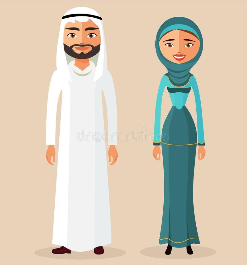傳染媒介-一起阿拉伯人男性和婦女女性在傳統全國衣裳禮服服裝 向量圖片
