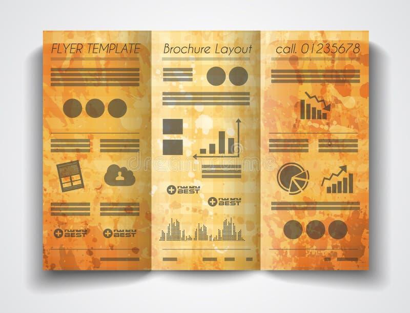 传染媒介三部合成的小册子模板设计或飞行物布局 皇族释放例证