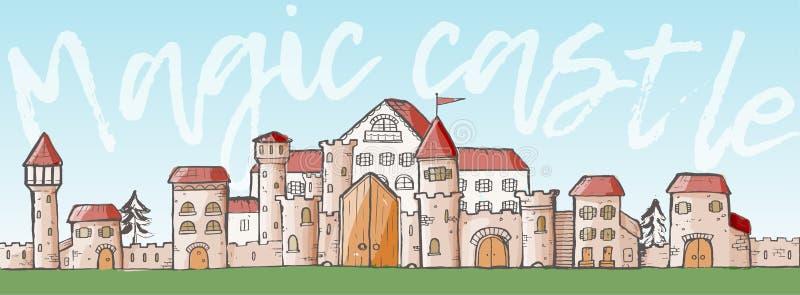 传染媒介不可思议的动画片逗人喜爱的中世纪城堡 库存例证