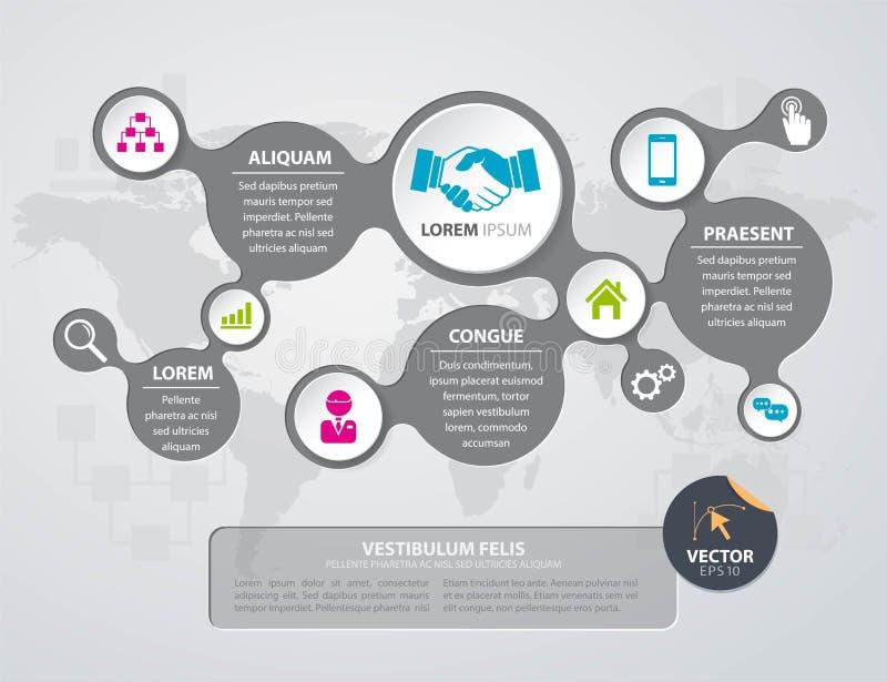 传染媒介与世界地图的Infographic设计在灰色背景 库存例证