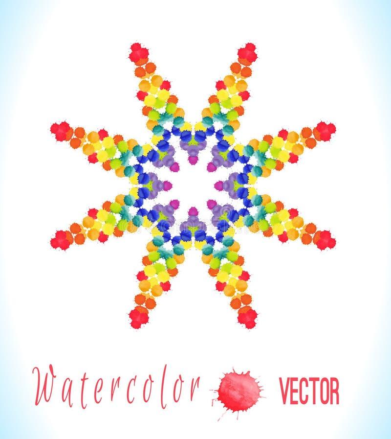 传染媒介与五颜六色的彩虹一滴的水彩星 皇族释放例证