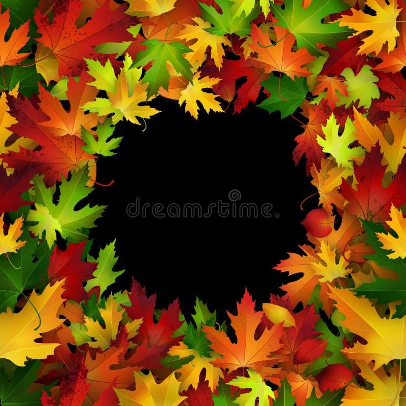 传染媒介与五颜六色的秋叶的框架设计,自然背景设计 向量例证