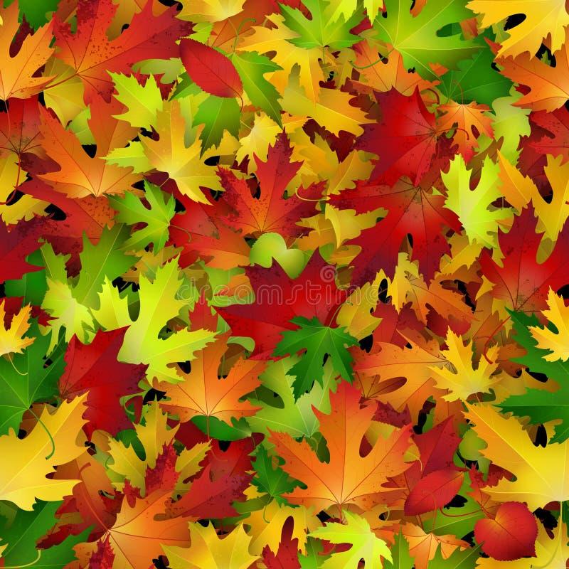 传染媒介与五颜六色的秋叶的背景设计,无缝的样式 库存例证