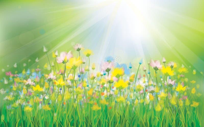 传染媒介与五颜六色的花的阳光背景。 库存例证