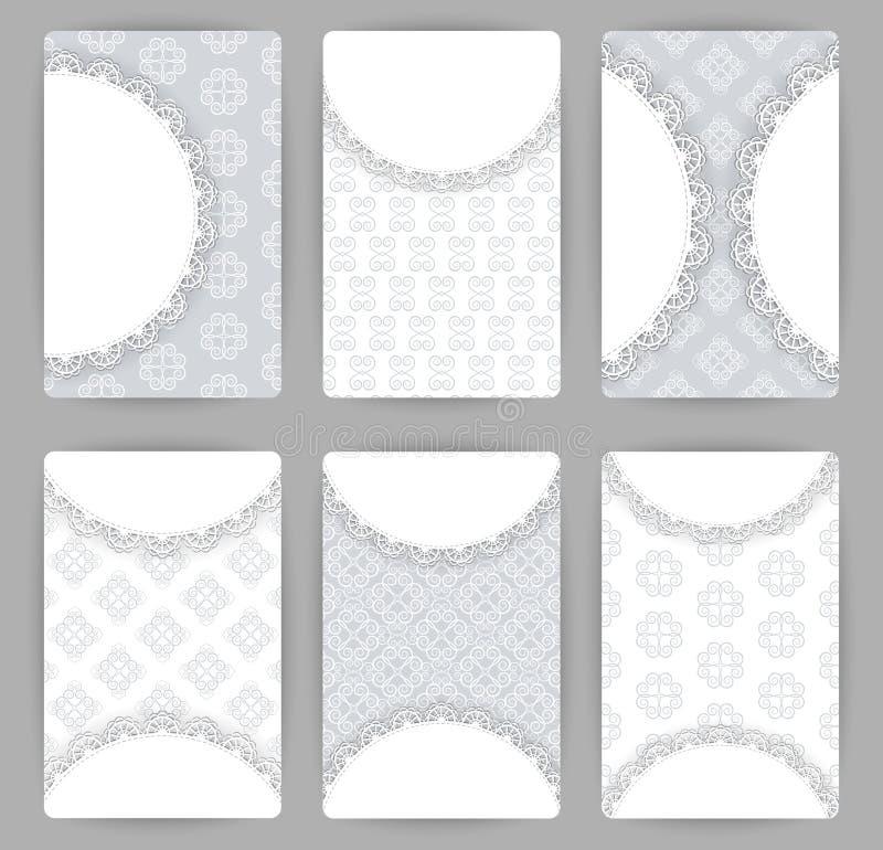 传染媒介与几何装饰品的卡片模板的汇集 皇族释放例证