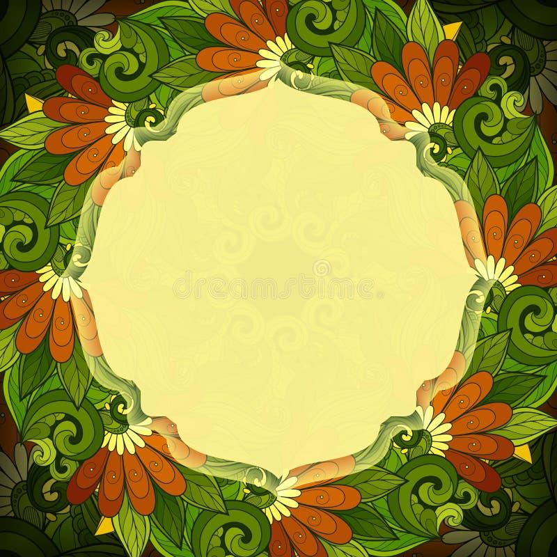 传染媒介与地方的色的花卉模板文本的 库存例证