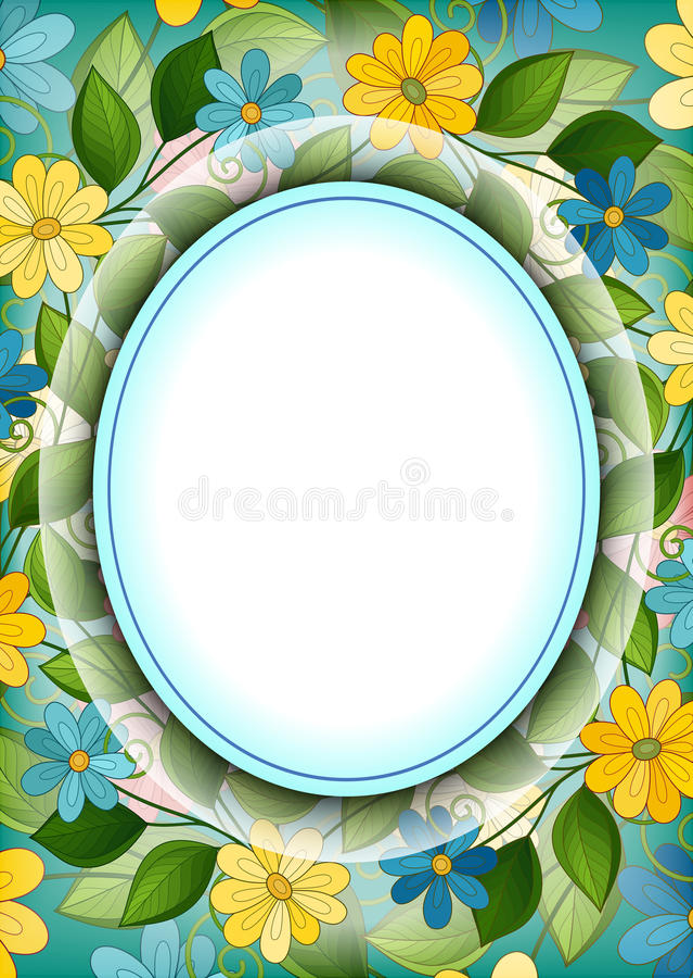 传染媒介与地方的色的花卉模板文本的 皇族释放例证