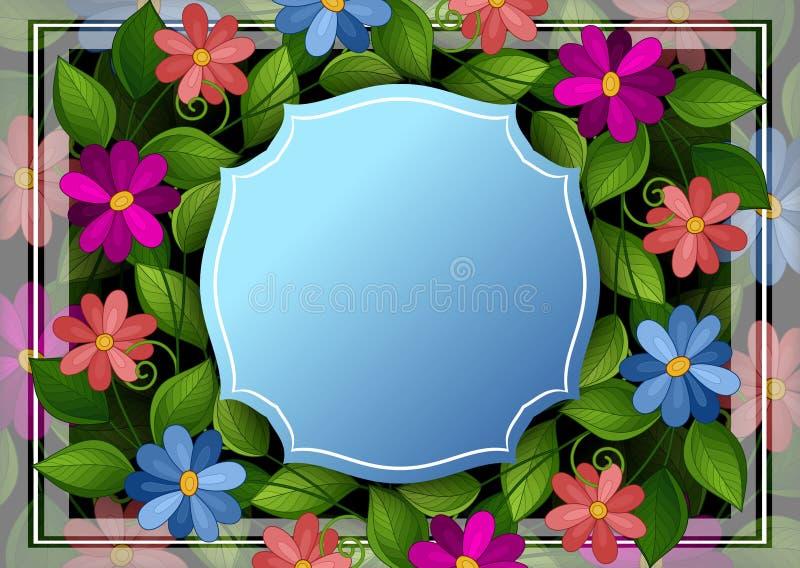 传染媒介与地方的色的花卉模板文本的 向量例证