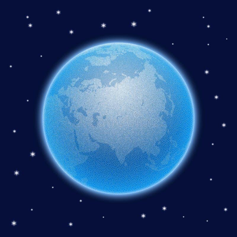 传染媒介与大气的被点刻的世界风格化地球 皇族释放例证