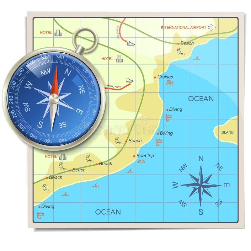 传染媒介与指南针的海滩地图 库存例证