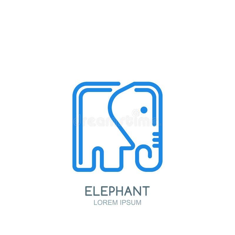 传染媒介与线性样式正方形大象的商标、标签或者象征设计模板 向量例证