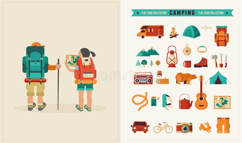 传染媒介与背包徒步旅行者夫妇的葡萄酒海报  向量例证