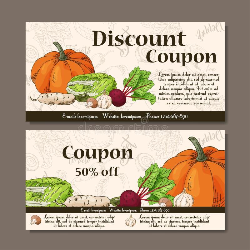 传染媒介与菜的优惠券模板 套与剪影的农夫横幅 证件的,标签,卡片例证 库存例证
