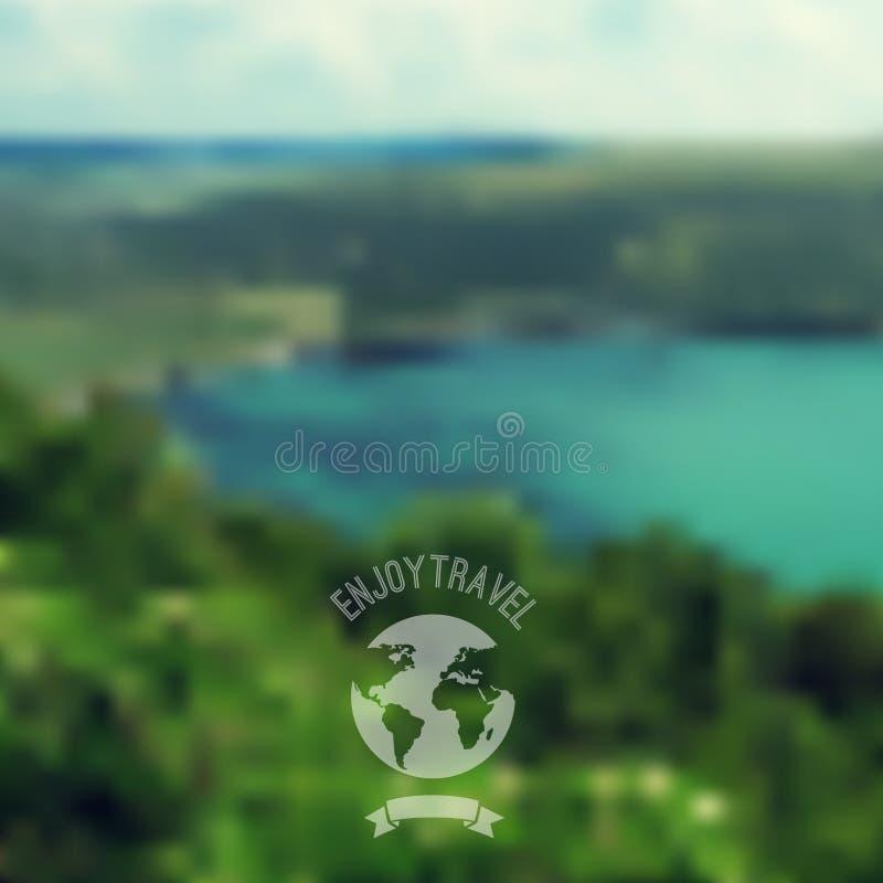传染媒介与行家徽章的blure风景 湖视图 山 向量例证