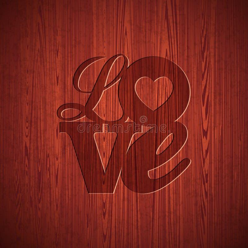 传染媒介与被刻记的爱印刷术设计的情人节例证在木纹理背景 向量例证