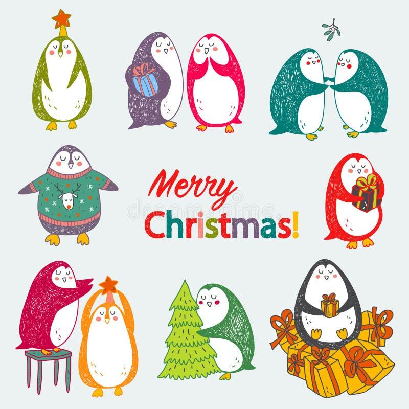 传染媒介与逗人喜爱的企鹅的圣诞节明信片 免版税库存图片