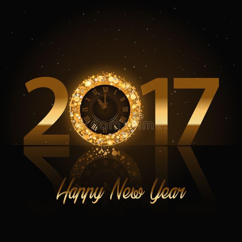 传染媒介2017年与金时钟的新年快乐背景 向量例证