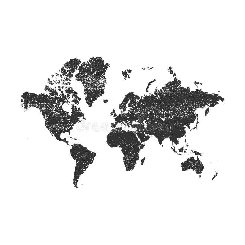 传染媒介与难看的东西年迈的纹理的世界地图 向量例证