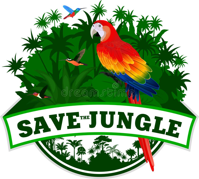 传染媒介与鹦鹉红色金刚鹦鹉的密林象征 皇族释放例证