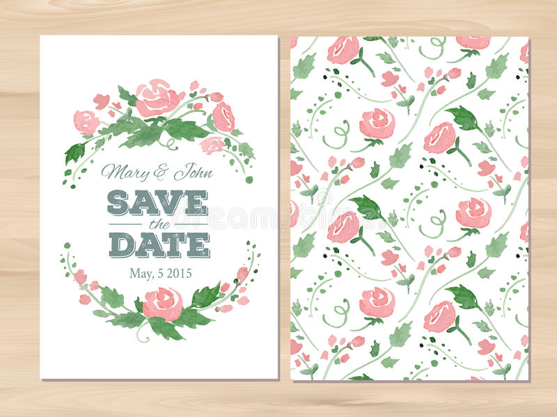 传染媒介与水彩花的婚礼邀请 库存图片
