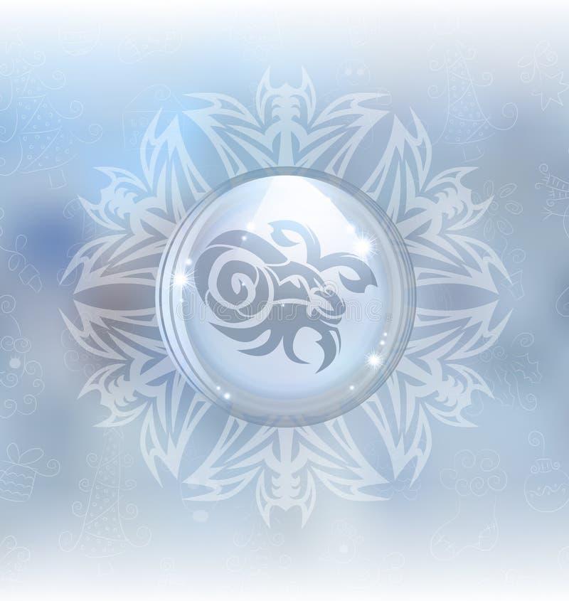 传染媒介与黄道带标志山羊座的雪地球 皇族释放例证