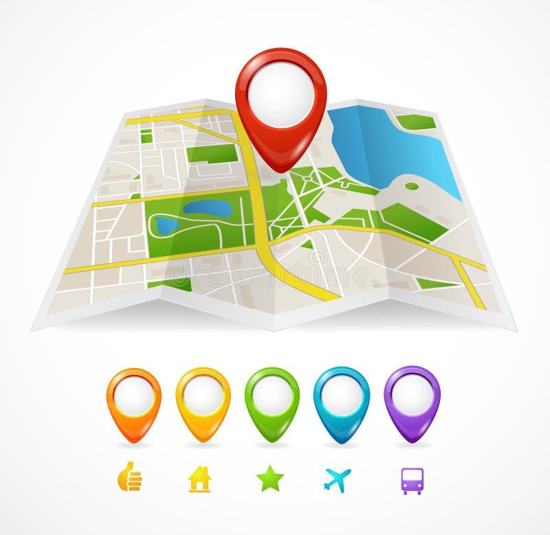 传染媒介与GPS象的城市地图 库存例证
