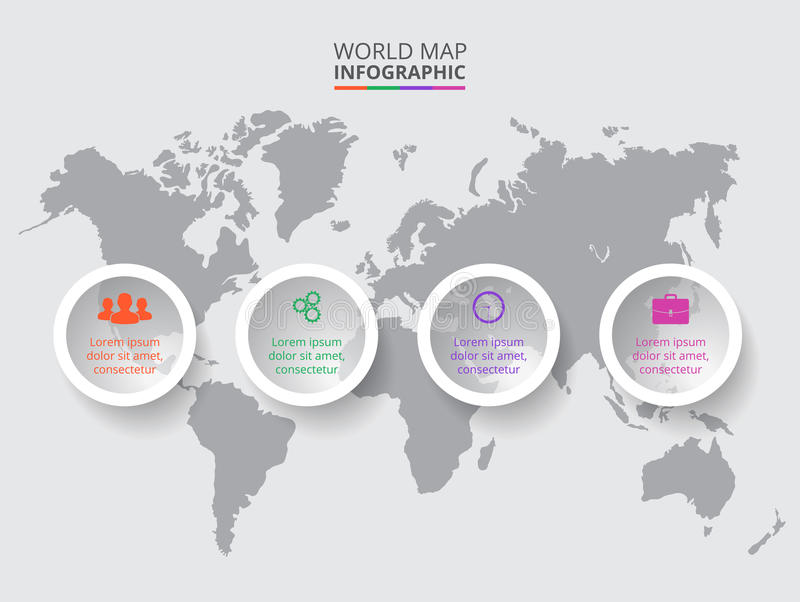 传染媒介与infographic元素的世界地图 库存照片