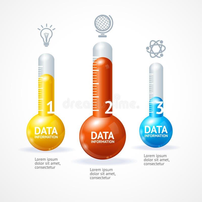 传染媒介与thermometr的企业infographics 向量例证