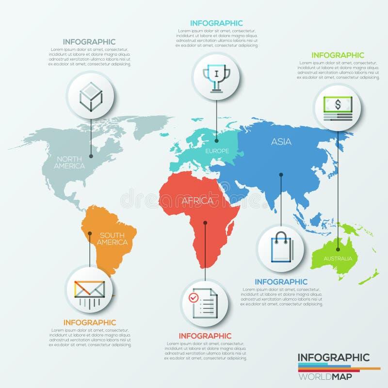 传染媒介世界地图例证和infographics设计模板 向量例证