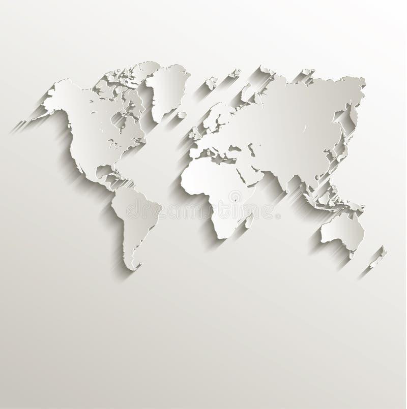 传染媒介世界地图卡片纸3D自然 库存照片