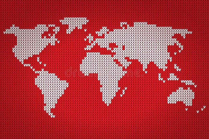 传染媒介世界地图可爱的编织的样式 皇族释放例证