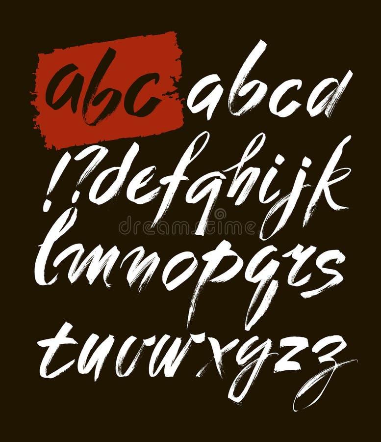 传染媒介丙烯酸酯的刷子样式手拉的字母表字体 您的设计的ABC,刷子字法 皇族释放例证