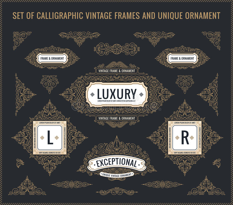 传染媒介书法设计元素 葡萄酒被设置的华丽减速火箭的商标和框架 皇族释放例证