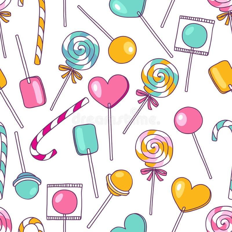 传染媒介乱画棒棒糖样式 明亮的甜食物手拉的il 库存例证