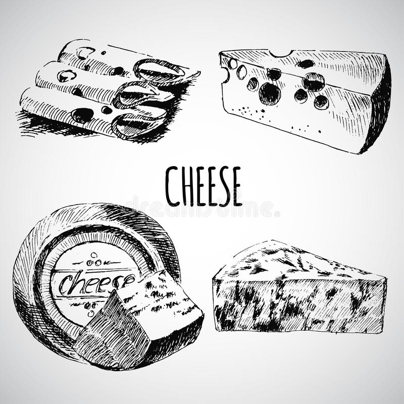 传染媒介乳酪略图设计师模板 农厂食物汇集 手拉的乳制品 库存例证