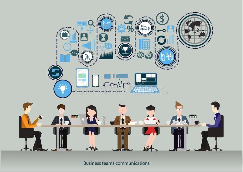 传染媒介事务合作通信 co工作区的概念 企业生意人cmputer服务台膝上型计算机会议微笑的联系与使用妇女 谈话和工作在comput的人们 向量例证