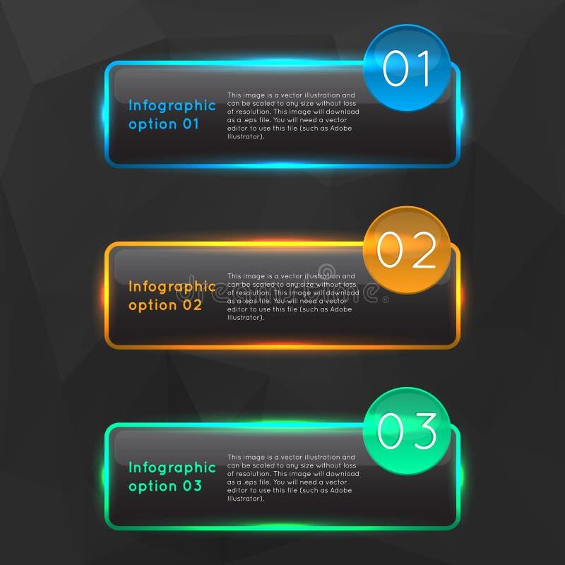 传染媒介五颜六色的发光的玻璃infographics 库存例证
